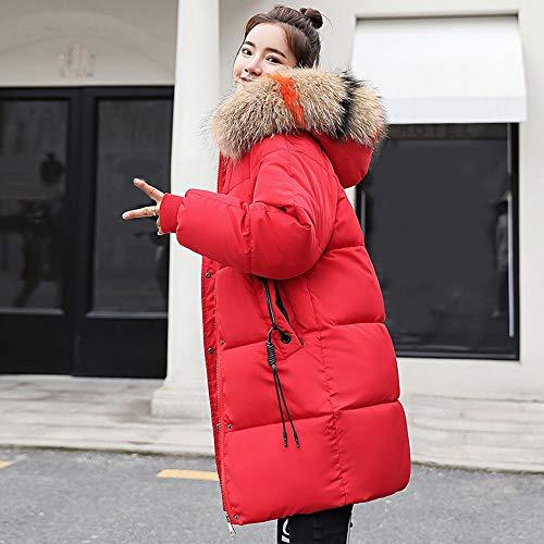 Mujer Y Slim Piel Acolchado Abrigo Largo Beautyjourney Chaqueta Rojo Ajuste Cuello Grande Con Falsa Invierno De Transición Capucha wqt6a