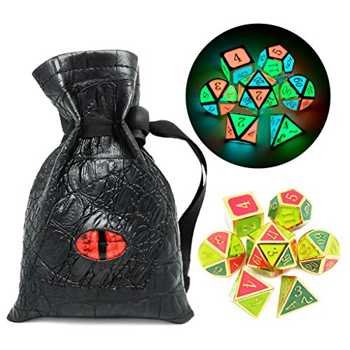 Haxtec Glow in The Dark Glowing Blue Red Green Metal Dice Set D&D 7PCS DND Dice Set for Dungeons and Dragons RPG Games-Gold Glowing Blue Green Red