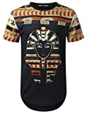 URBANTOPS Mens Hipster Hip Hop Egypt Pharao Dashiki Longline T-Shirt Black, L
