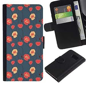 KLONGSHOP / Tirón de la caja Cartera de cuero con ranuras para tarjetas - Red Pink Wallpaper Native - Samsung Galaxy S6 SM-G920