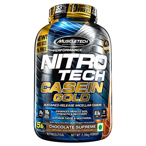 MuscleTech NitroTech Casein Gold Protein Powder, Sustained-Release Micellar Casein, Chocolate Supreme, 5lbs - Muscletech Nitro Tech