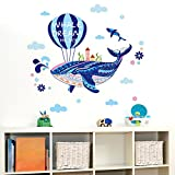 BIBITIME Ocean Sprays Blue Whale Hot Air Balloon Wall Decal WHALE DREAM THE SKY Saying Quotes Nursery Bedroom Cartoon Sea Animal Vinyl Sticker