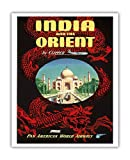 India and the Orient by Clipper - Pan American World Airways (PAA) - Taj Mahal and Chinese Red Dragon - Vintage Airline Travel Poster c.1950s - Fine Art Print - 16in x 20in