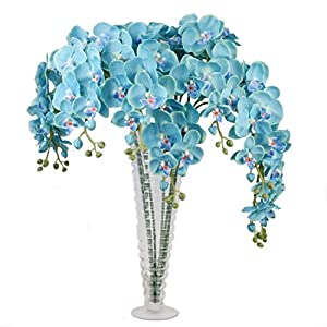 """Calcifer 31"""" Artificial Silk Phalaenopsis Orchid Stem Bouquets Artificial Flowers for Wedding Party Home Garden Decor 78"""