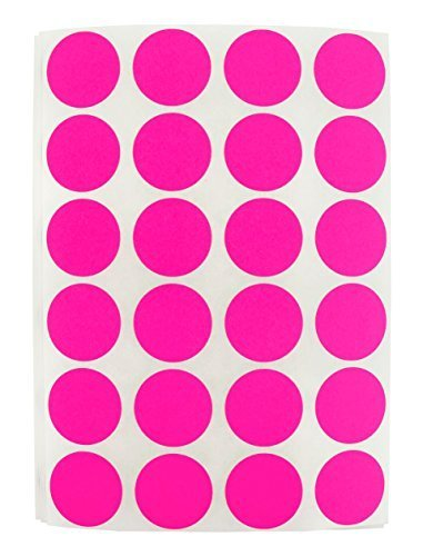 3/4 Fluorescent Pink, Color Coding Dot Labels on Sheets | Permanent Adhesive, 0.75 in. - 1,008 Round Stickers per Pack