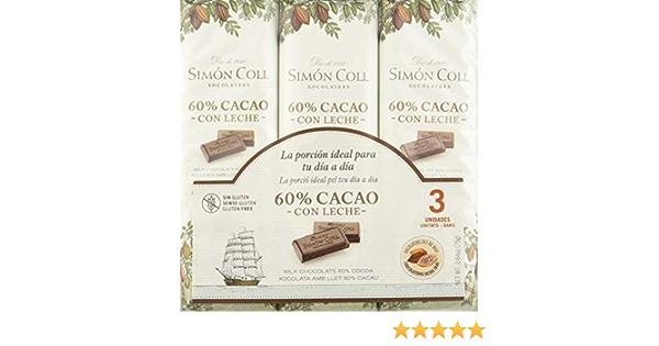 Simón Coll - Chocolate con Leche 60% cacao 400g (16uds x 25g): Amazon.es: Alimentación y bebidas