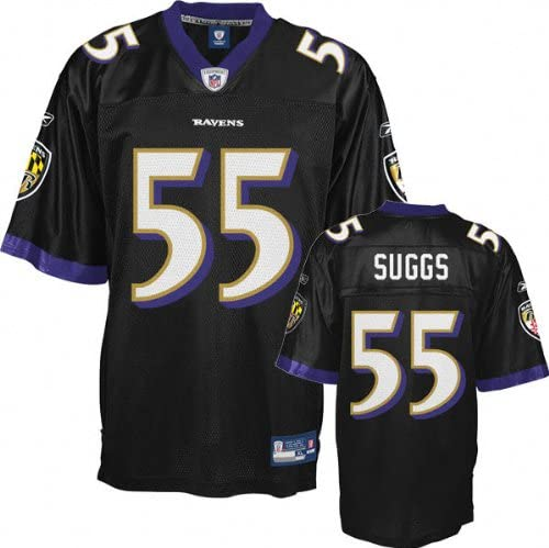 fashion style available authorized site Amazon.com : Terrell Suggs Jersey: Reebok Black Replica #55 ...