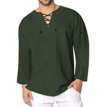 Hombre camisa vintage invierno otoño,Sonnena camiseta retro medieval estilo manga larga guapo hombre Blusa marinera vieja suelto casual moda deportivos al ...