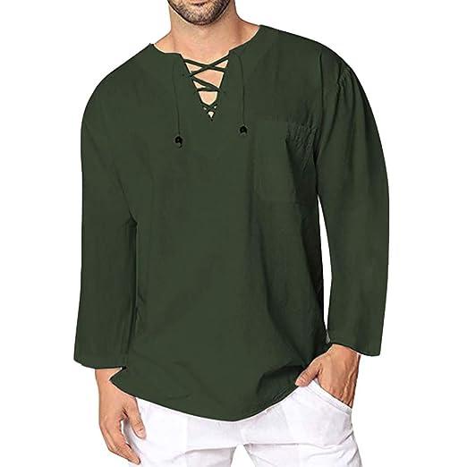 ba05714b6e2 Simayixx Men Shirts Male Casual Linen Long Sleeve T-Shirt Fashion V-Neck  Button