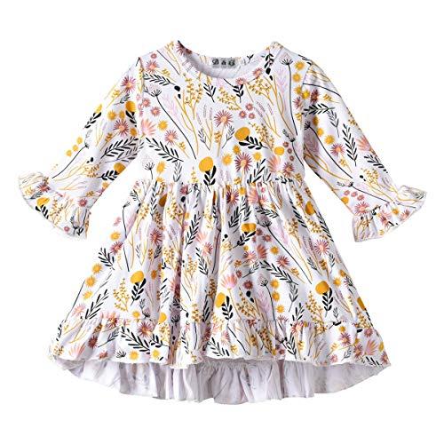 Baby Girls Dress Long Sleeve Wheat Flower Kids Skirt (2-3T) ()