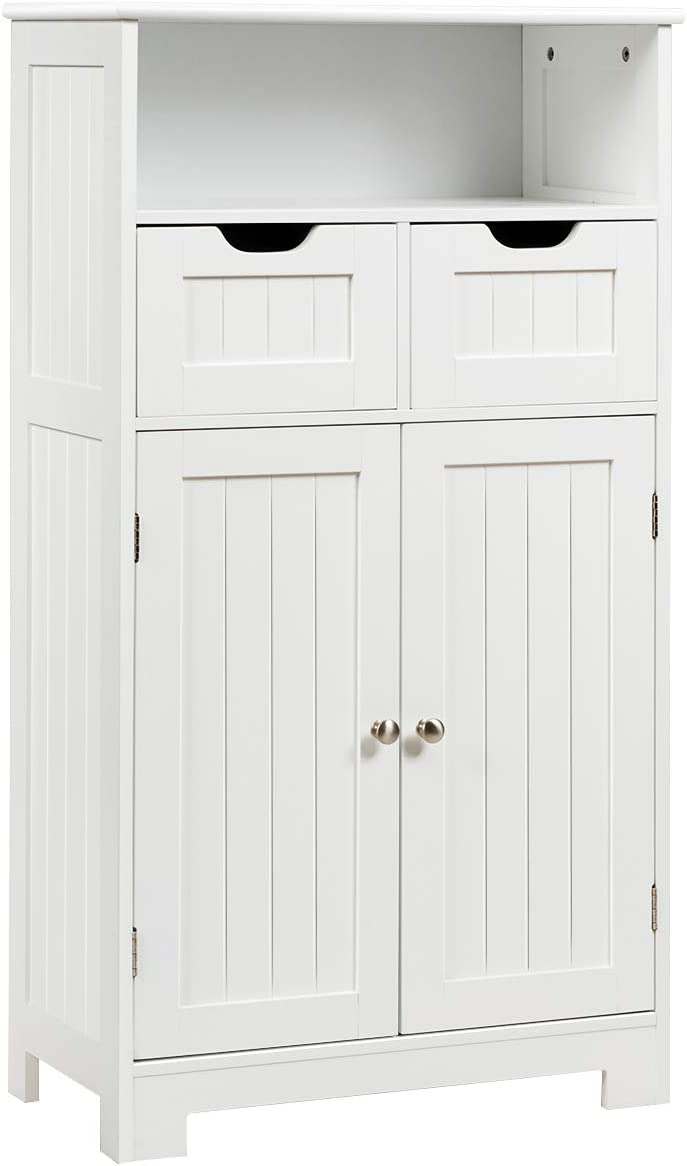 GLACER Floor Storage Cabinet, Stylish Free Standing Bathroom Cabinet with Open Shelf and Drawers, Bathroom Floor Cabinet with Adjustable Shelf, 24 x 12 x 43 inches White
