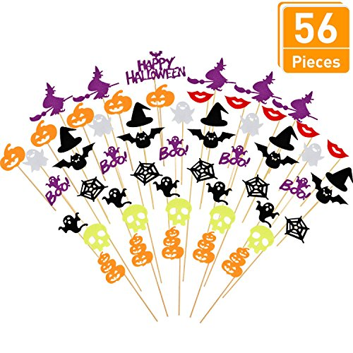 Blulu 56 Pieces Halloween Cake Toppers Ghost Pumpkin Witch Cupcake Topper Halloween Cake Decoration Supplies -