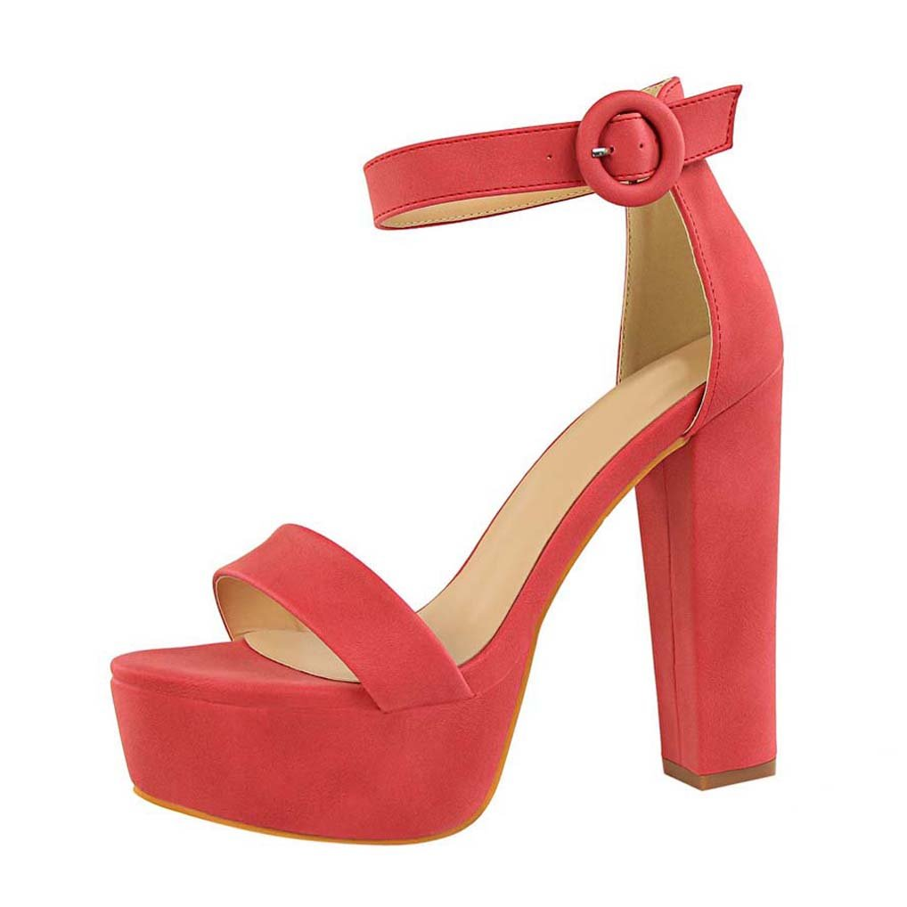 OALEEN Sandales Ouverte Femme Soirée Bride Talon Cheville Talon Femme Haut Bloc Chaussures Soirée Plateforme Rouge pastèque 1af3670 - deadsea.space