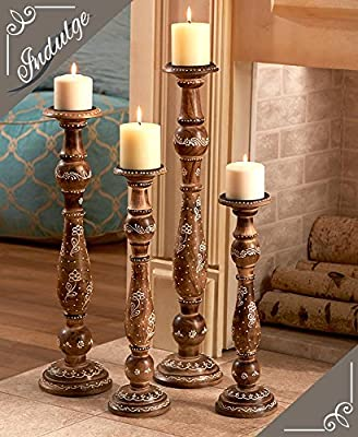 The Lakeside Collection Handcrafted Wood Candleholder Set