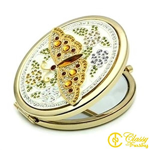 Classy Not Trashy Women's Fashion Jewelry Cosmetic mirror, Premium Grade Stainless Steel Multi Color Top Grade Crystal Jeweled Butterfly Cosmetic mirror ()