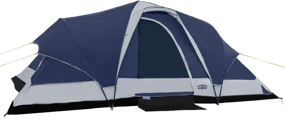 Pacific Pass Camping Tent 8 Person Family Dome Tent with Dividers Awning Removable Rain Fly, Easy Set Up for Camp Backpacking Hiking Outdoor
