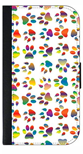 Prints Wallet Paw (Colored Paw Prints - Apple iPhone 4/4s/5/5s/5c/6/6s/6+/6s+/7/7+/8/8+ Wallet Style Phone Case - Select Your Compatible Phone Model)