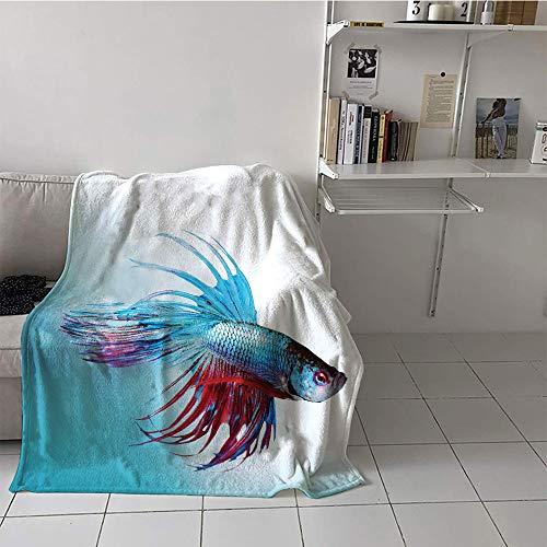 Khaki home Children's Blanket Stroller Digital Printing Blanket (30 by 50 Inch,Aquarium,Siamese Fighting Betta Fish Swimming in Aquarium Aggressive Sea Animal,Sky Blue Dark ()