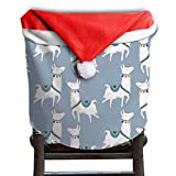 Llama Animal Christmas Chair Covers Decorations Scratch Resistant Santa Hat Chair Covers For Husbands Chair Back Covers Holiday Festive