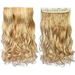 "REECHO 20"" 1-Pack 3/4 Full Head Curly Wave Blonde Mixed Hair Color Clips in on Synthetic Hair Extensions Hairpieces for Women 5 Clips 4.6 Oz per Piece - 25H613"