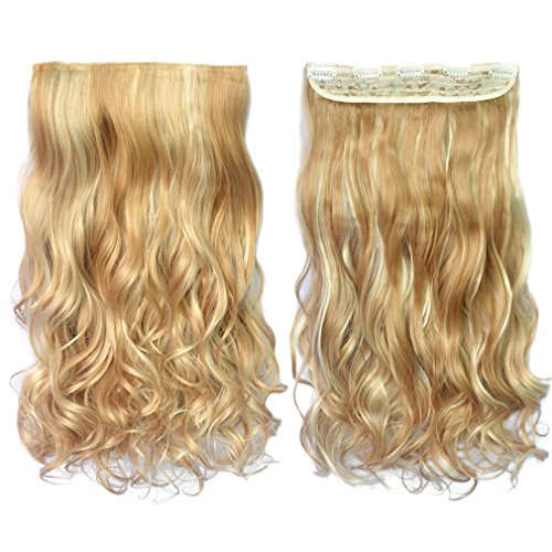 """REECHO 20"""" 1-Pack 3/4 Full Head Curly Wave Blonde Mixed Hair Color Clips in on Synthetic Hair Extensions Hairpieces for Women 5 Clips 4.6 Oz per Piece - 25H613"""