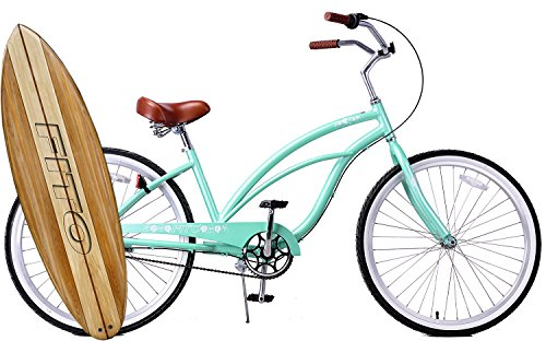 Cheap Anti Rust Light Weight Aluminum Alloy Frame Fito Marina alloy 3 speed 26″ wheel womens beach cruiser bike bicycle mint green