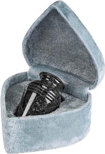 Elegante Beautifully Crafted Genuine Marble Black Grain Keepsake with Elegant Velvet Case ()
