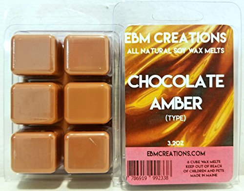 - Chocolate Amber (Type) - Scented All Natural Soy Wax Melts - 6 Cube Clamshell 3.2oz Highly Scented!