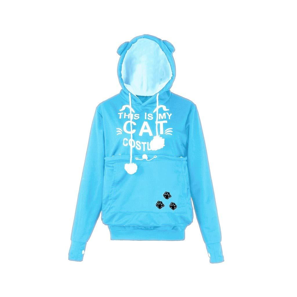 Shusuen Fashion Women Cat Ear Big Kangaroo Pouch Hoodie Long Sleeve Pet Cat Dog Holder Carrier Sweatshirt Light Blue by Shusuen_Clothes