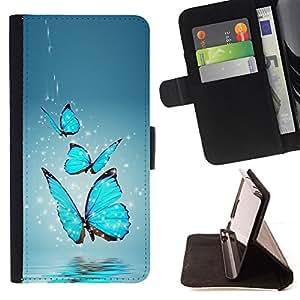 - Blue Butterfly Water Splash/ Personalizada del estilo del dise???¡¯???¡Ào de la PU Caso de encargo del cuero del tir???¡¯????n del s - Cao - For Samsung