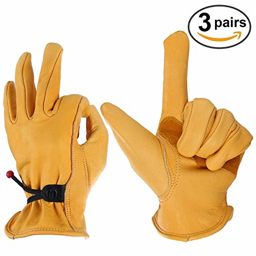 OZERO Leather Work Gloves for Wood Cutting, Men & Women, with Adjustable Wrist, Gold, Large (3 - Co Craft Uk Hobby