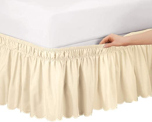White Queen//King Easy Fit Elastic Dust Ruffle Collections Etc Wrap Around Bed Skirt