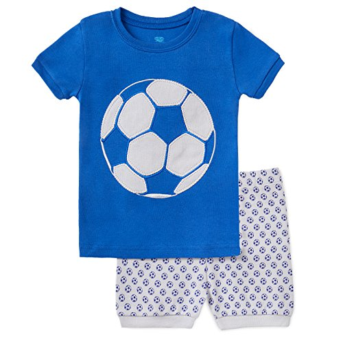 Ball Short Pajamas - Bluenido Boys Soccer and Fire Engine Shorts 2 Piece Pajama 100% Soft Cotton,7 Years,Blue / Grey