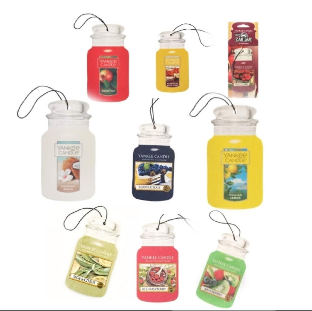 YANKEE CANDLE Car Jars 5 Assorted Fruit Variety Scents Paperboard Bundle (Fruit)