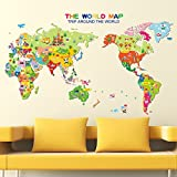 World Map English Letters Wall Decal Home Sticker PVC Murals Vinyl Paper House Decoration Wallpaper Living Room Bedroom Kitchen Art Picture DIY for Children Teen Senior Adult Nursery Baby