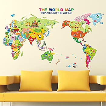 Amazon world map english letters wall decal home sticker pvc world map english letters wall decal home sticker pvc murals vinyl paper house decoration wallpaper living gumiabroncs Gallery