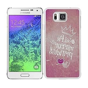 """Funda carcasa para Samsung Galaxy Alpha diseño ilustración para selfie """"selfie mirror princess"""" borde blanco"""