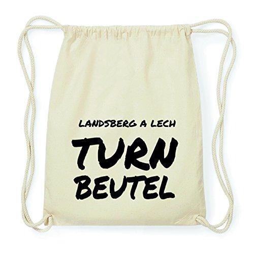 JOllify LANDSBERG A LECH Hipster Turnbeutel Tasche Rucksack aus Baumwolle - Farbe: natur Design: Turnbeutel