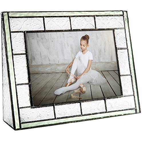 - J Devlin Pic 122-57H Green Vintage Stained Glass Picture Frame 5x7 Horizontal Photo Tabletop Family