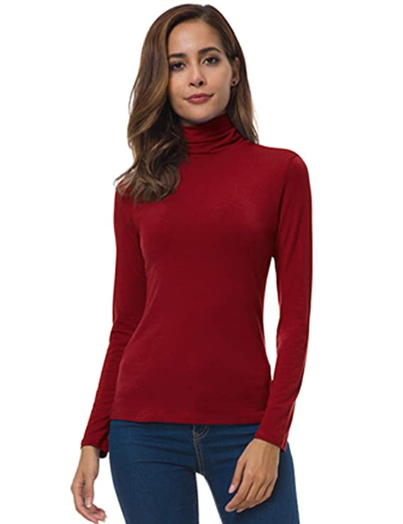 VOBCTY Long Sleeve Mock Turtleneck Stretch Slim T Shirt Layer Top Red XX-Large best women's turtlenecks