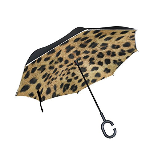 THENAHOME Reverse Inverted Auto Open Umbrella Upside Down Compact Lightweight & Windproof Waterproof Straight Umbrellas with Shading Leopard Print for Car & Outdoor
