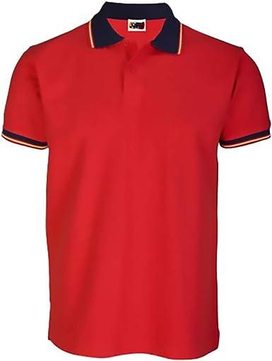 GARGOLA.ES OPERADORES DIGITALES Polo Rojo DE Sport O Vestir Bandera DE ESPAÑA EN Cuello.: Amazon.es: Ropa y accesorios