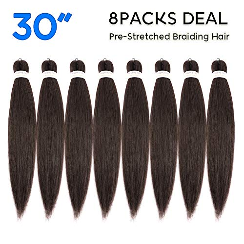 """Pre Stretched Braiding Hair 30""""-8 Packs Super Long Itch Free Hot Water Setting Synthetic Fiber Crochet Braiding Hair Extension(30"""""""