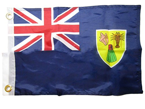 ALBATROS 12 inch x 18 inch Turks Caicos Country 100% Polyester Motorcycle Boat Flag Grommets for Home and Parades, Official Party, All Weather Indoors Outdoors
