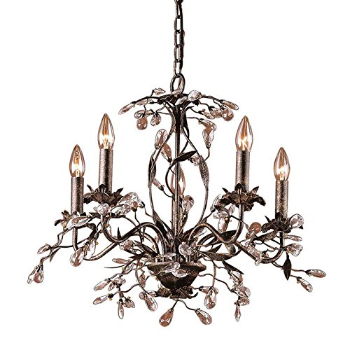Elk 8053/5 5-Light Chandelier In Deep Rust and Crystal Droplets (Collection Circeo)