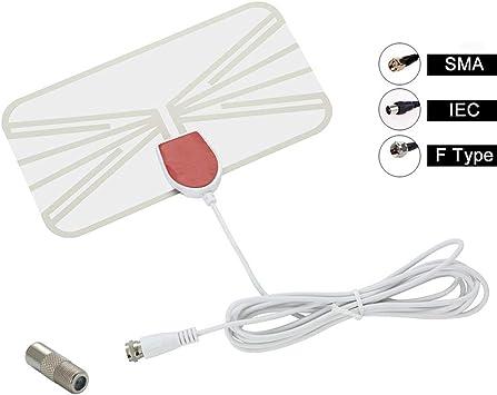 Antena de TV de interior VHF UHF Digital 50 millas 4K 1080P HDTV HD TV digital móvil DVB-T2 ATSC Antena transparente