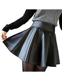 Coromose Faux Leather High Waist Flared Pleated Short Mini Skirt