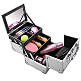 Extendable Makeup Train Case Aluminum Cosmetic Box With Mirror Jewelry Box Cosmetic Organizer (Sliver) For Sale