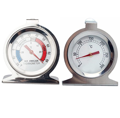 Refrigerator/Freezer Thermometers with an Oven Thermometer, Hook and Panel Base Large Dial Thermometer
