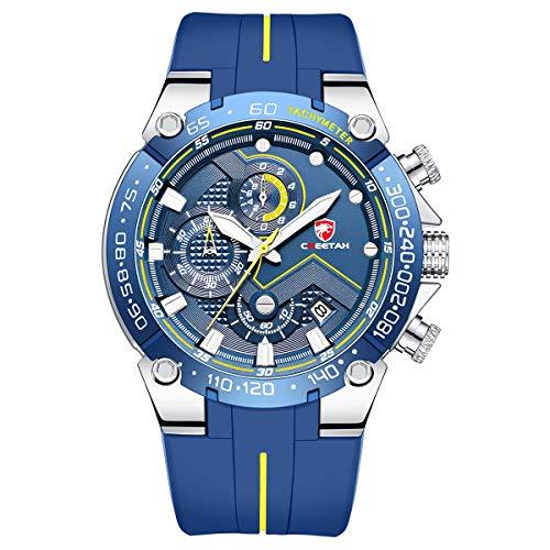 🥇 Relojes para Hombre Reloj cronógrafo Impermeable Deportivo con Correa de Silicona